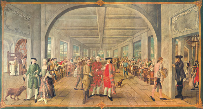 Interior of the Wetter Brothers calico factory in Orange, France, c. 1764 In the background, children can be seen embroidering, pressing, and dying textiles.
