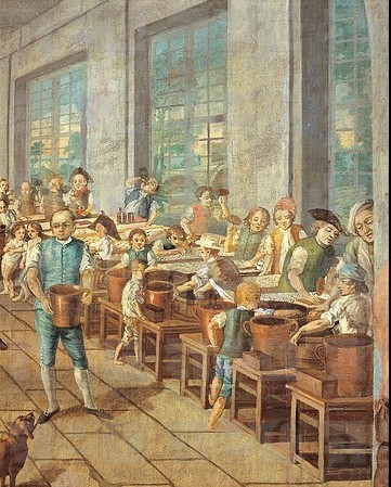 Detail of Boys Working at Wetter Textile Factory at Orange, 1764 The boys can be seen scouring the fabric with hot water, pressing the fabric, and dyeing the embroidery.