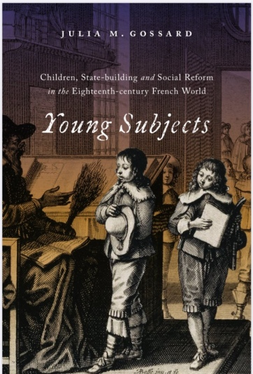 Book cover for Young Subjects that shows two young students speaking with a schoolmaster in a bustling school house in the seventeenth century.